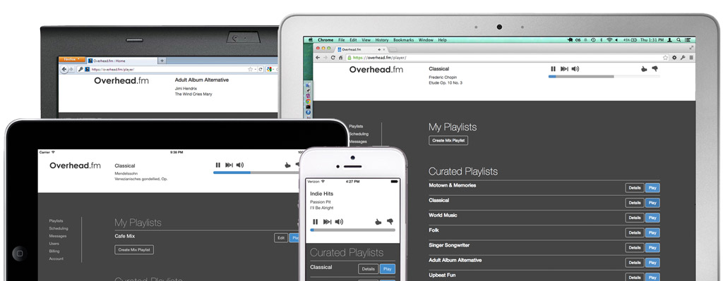 Overhead.fm on mobile devices and computers